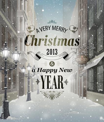 Wall mural Christmas greeting card