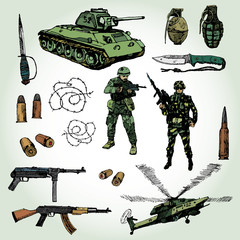 Foto op Canvas Militair Some Military Things Colorful Hand Drawn