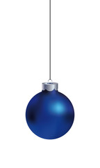 Realistic vector blue Christmas ball