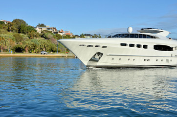 Luxury Yacht Sailing Up the River Swan, Fremantle