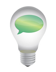 lightbulb and message bubble