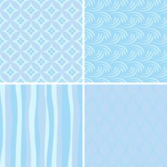 set of blue seamless patterns