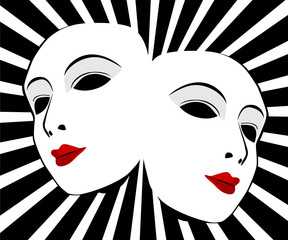 Vector masks. Masks with the theatre concept