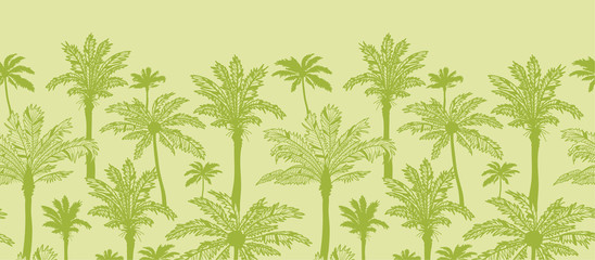 Vector green palm trees horizontal seamless pattern ornament