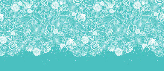 Vector blue seashells line art horizontal seamless pattern
