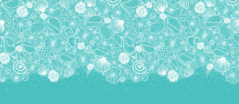 Vector blue seashells line art horizontal seamless pattern