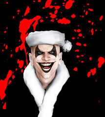 Evil Santa Clown With Blood