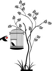 Wall Murals Birds in cages flying bird silhouette with a love for birds in the cage