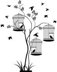 Foto op Plexiglas Vogels in kooien illustration silhouette of birds flying and bird in the cage