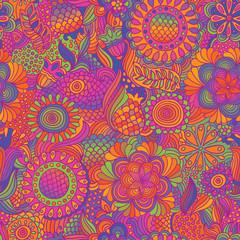 Vintage seamless flower doodle pattern