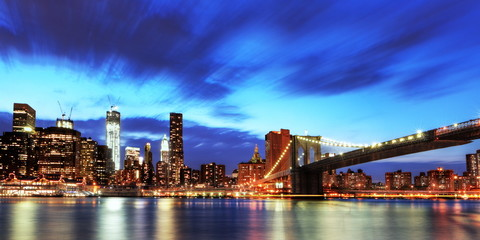 Fototapete - Manhattan et pont de Brooklyn, New York.