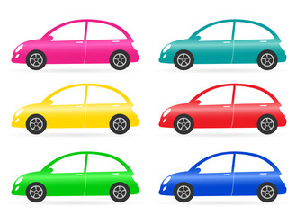 set of colorful isolated retro car