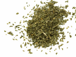 Spice of dried parsley isolated on white background