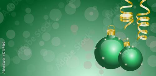 Weihnachtlicher Hintergrund Mit Christbaumschmuck In Grun Stock