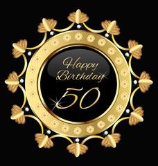 Happy 50 years birthday gold design vector