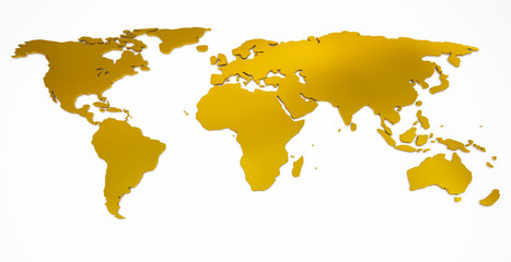 Aluminium Prints World Map world map golden