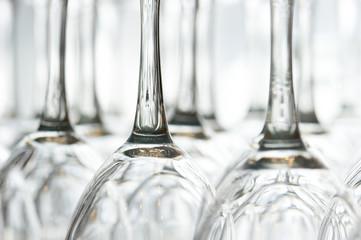 Wine glasses upside down