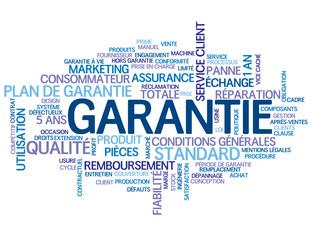 """Nuage de Tags """"GARANTIE"""" (qualité service clients produits prix)"""