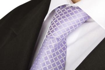 Purple tie of a man's suit