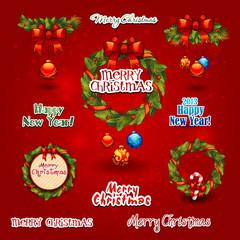 set christmas wreath, balls, label. New year Greeting Card