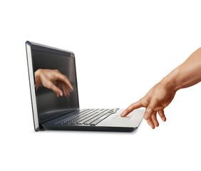 Laptop and Michelangelo: Creation of Adam