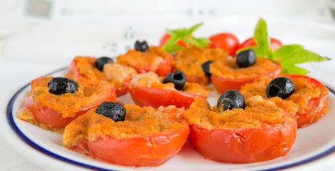 plate of stuffed tomatoes