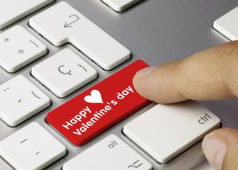 Happy Valentine's day keyboard key. Finger
