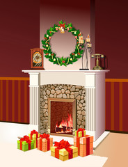 Background with decorated Interior, Christmas Festive Fireplace