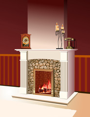 fireplace with a fire burning