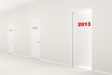 New Year's illustration - Corridor with doors