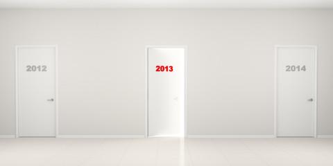 Corridor with doors - New Year's illustration.