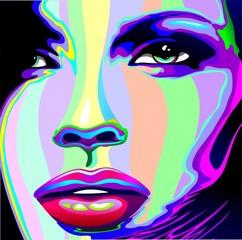 Printed kitchen splashbacks Draw Girl's Portrait Psychedelic Rainbow-Viso Ragazza Psychedelico