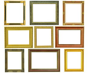 Set of vintage gold picture frame isolated on white