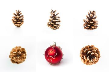Collage verschiedener Zapfen und Weihnachtskugel freigestellt