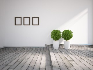 white interior with flower and frames