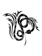 black and white snake tattoo print