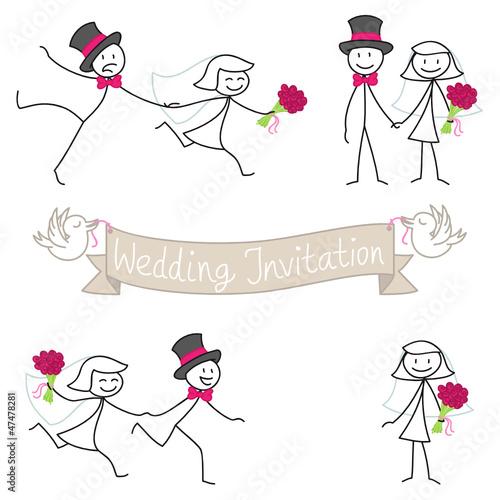 stick figures wedding invitation bridal couple set 3 stock image