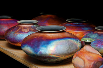 Iridescent glazed handmade pottery