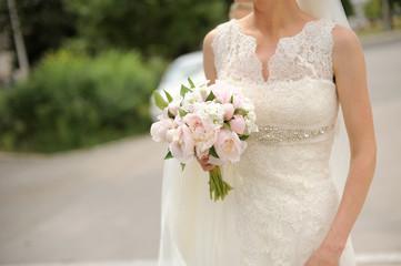Bride's Bouquet of Pink Peonies