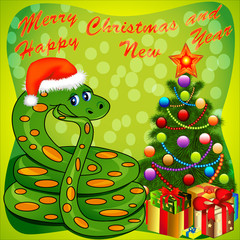 of a Christmas tree and a snake with gifts on green