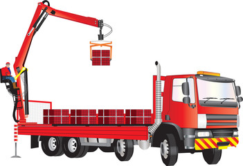 A Red Truck with operator on crane unloading bricks