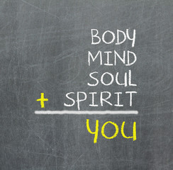You, body, mind, soul, spirit - a simple mind map