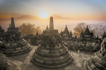 Aluminium Prints Indonesia Borobudur Temple sunrise in Indonesia