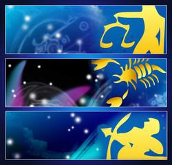 Horoskop-Banners: Waage, Skorpion & Schütze