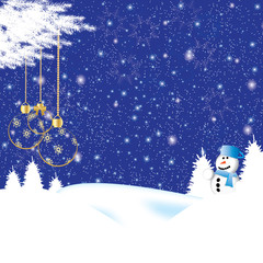 Beautiful christmas background with a snowman