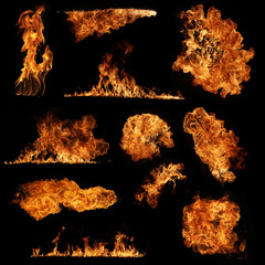 Deurstickers Vuur High resolution fire collection isolated on black background