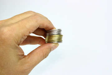 peso coins on hand