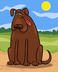 Poster Dogs brown big dog cartoon illustration