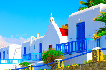 Beautiful street view with red church in Mykonos Island Greece C