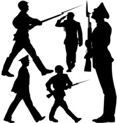 Soldiers marching, sentry guard vector silhouettes. Editable